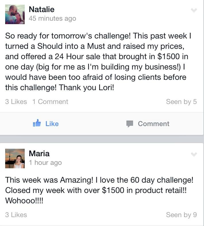 60 Day Success Challenge Testimonials